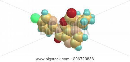 Zopiclone Molecular Structure Isolated On White