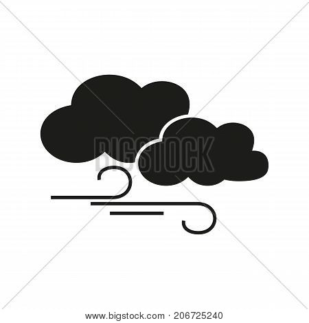 Simple icon of two clouds and wind. Air, wind direction, wind speed. Weathercolored concept. Can be used for topics like weather, climate, forecast