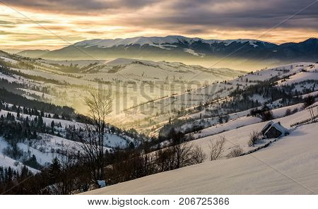 Beautiful Countryside In Mountains At Sunrise