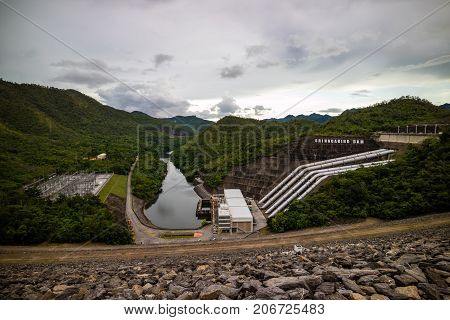 Srinagarind Dam Is An Embankment Dam On Khwae Yai River In Si Sawat Of Kanchanaburi, Thailand. The M