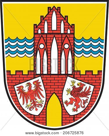 Coat of arms of Uckermark is a district in the northeastern part of Brandenburg Germany. Vector illustration