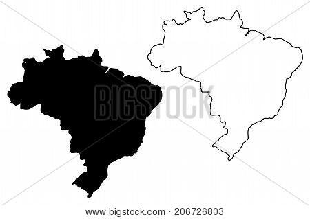 Brazil map vector illustration , scribble sketch Brazilia