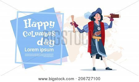 Happy Columbus Day American Discovery Holiday Poster Greeting Card Flat Vector Illustration