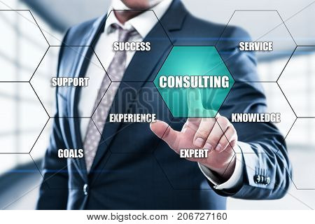 Consulting Expert Advice Support concept on the hexagons and transparent honeycomb structure presentation screen. Man pressing button on display with word in modern office
