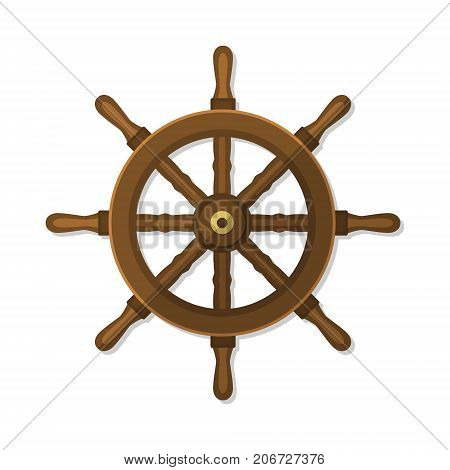 Ship wheel, rudder, steering flat style vintage vector illustration isolated on white.