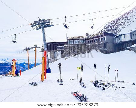 Courmayeur, Italy - January 27, 2015: Winter ski resort Courmayeur, Italian Alps. Mountains, restaurants, chair lifts and cable car station
