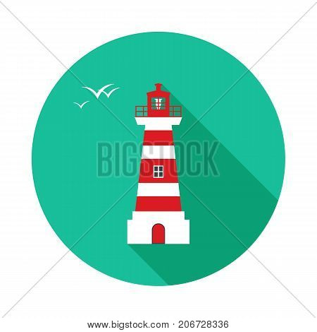 Lighthouse circle icon with long shadow. Flat design style. Lighthouse simple silhouette. Modern minimalist round icon in stylish colors. Web site page and mobile app design vector element.