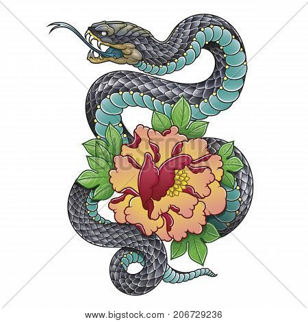 oriental snake with peony flower vector illustration