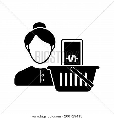Icon of employee salary. Woman, money, cash, shopping basket. Business concept. Can be used for topics like purchase, shopping, income