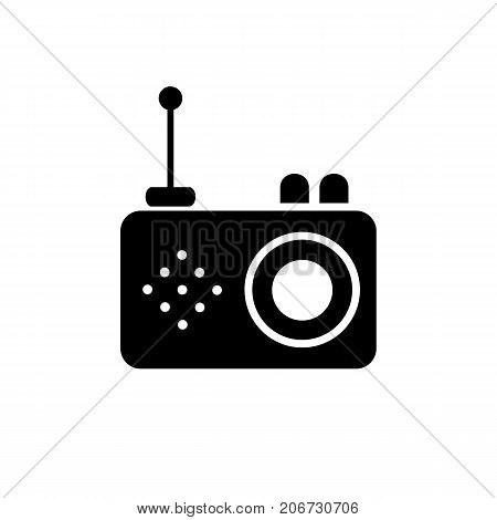 Icon of old-fashioned radio. Receiver unit, electromagnetic signal, portability, antenna.  Mass media concept. Can be used for topics like device, sound, broadcasting