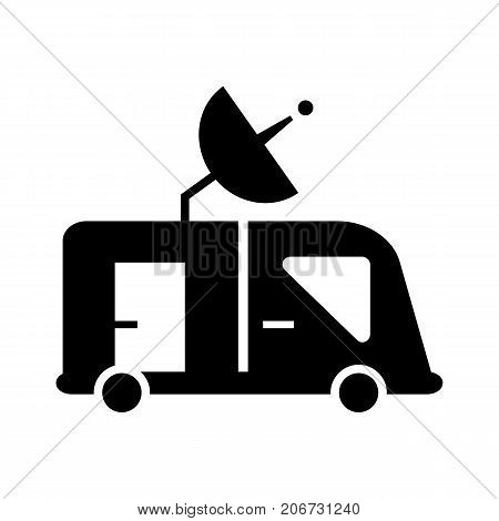 Icon of Satellite dish. Mobility, transportation, van. Mass media concept. Can be used for topics like satellite service, broadcasting, breaking news