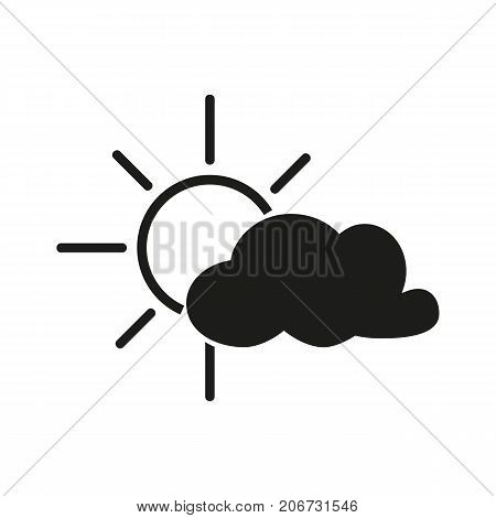 Simple icon of sun behind cloud. Cloudy day, overcast sky, cloudscape. Weathercolored concept. Can be used for topics like weather, climate, forecast