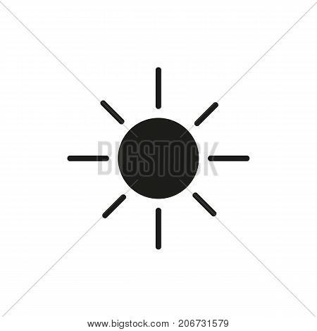 Simple icon of sunny day. Sun, summer, heat. Weathercolored concept. Can be used for topics like weather, climate, forecast
