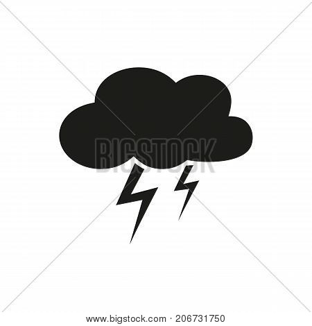 Simple icon of cloud with lightning. Thunderstorm, storm, rainfall. Weathercolored concept. Can be used for topics like weather, climate, forecast