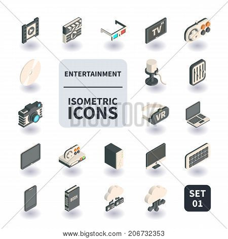 Simple Set of Entertainment Icons in flat isometric 3D style. Contains such icons as Clapperboard 3D Glasses Filmstrip HD TV Video game console and more.
