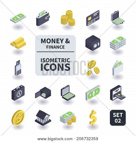 Simple Set of Money and Finance Icons in flat isometric 3D style. Contains such icons as Bank card Coins Safe Gold bar Wallet and more.
