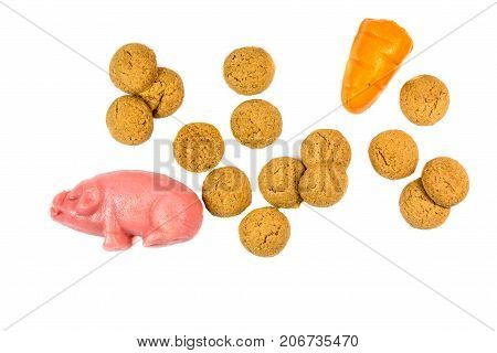 Group Of Pepernoten Cookies And Marzipan Pig And Carrot
