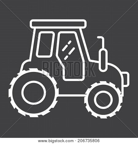 Tractor line icon, transport and vehicle, agriculture sign vector graphics, a linear pattern on a black background, eps 10.