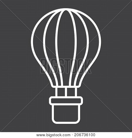 Hot air balloon line icon, transport and air vehicle, travel sign vector graphics, a linear pattern on a black background, eps 10.