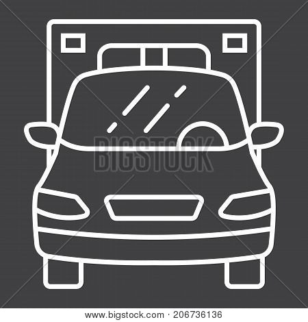 Ambulance line icon, transport and vehicle, emergency sign vector graphics, a linear pattern on a black background, eps 10.