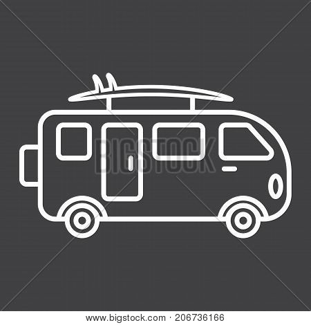Surfer van line icon, transport and vehicle, camper bus sign vector graphics, a linear pattern on a black background, eps 10.