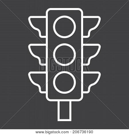 Traffic light line icon, stoplight and navigation, regulation sign vector graphics, a linear pattern on a black background, eps 10.