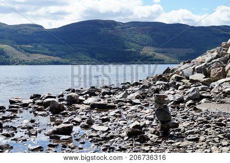 traveling on Loch Ness in Scotland, UK,