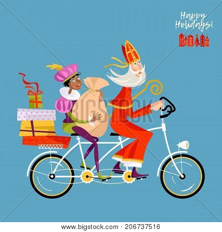 Christmas in Holland. Sinterklaas and his helper deliver gifts on a tandem Bicycle. Vector illustration.