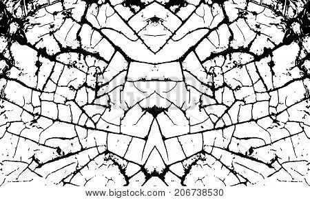 White cracking texture. Grunge horizontal background. Pattern with cracks. Vector illustration.