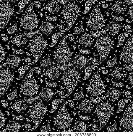 Paisley Ethnic ornament. Seamless Paisley background. Elegant Hand Drawn vector pattern.