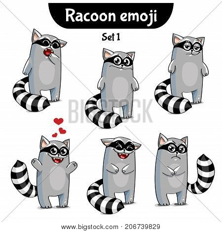 Set kit collection sticker emoji emoticon emotion vector isolated illustration happy character sweet, cute raccoon