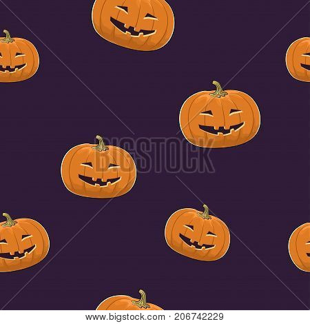 Seamless Pattern of Carved Grinning Scary Halloween Pumpkin Jack-o-Lantern Illustration