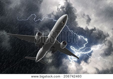 White Passenger Airplane Landing During A Thunderstorm Of Rain, Bad Weather.