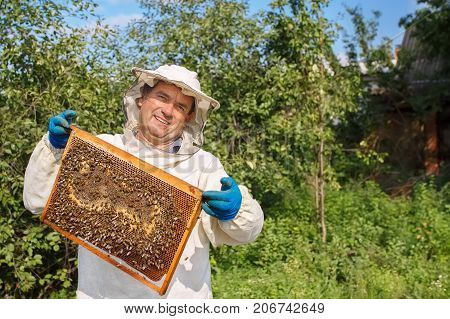 closeup portrait of beekeeper holding a honeycomb full of bees. Beekeeper in protective workwear inspecting honeycomb frame at apiary. Beekeeping concept. Beekeeper harvesting honey. Copy space