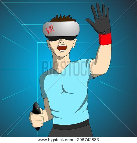 Enthusiastic man in virtual reality holds the remote and raising his hand. Vector illustration