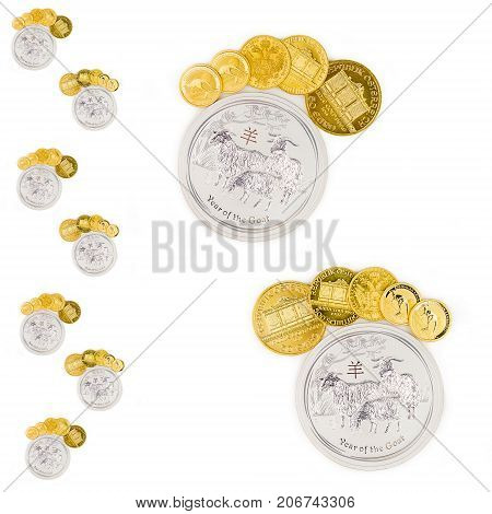 Golden And Silver Coins Forming Feet