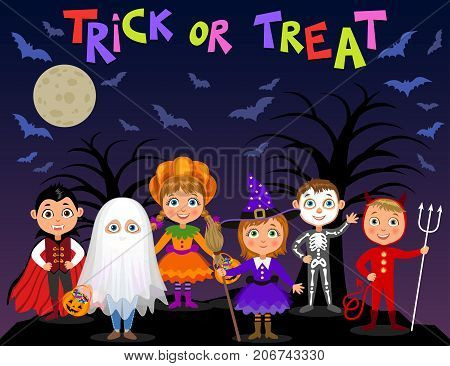 Happy Halloween. Children in halloween costumes. Vampire Dracula devil witch pumpkin ghost skeleton. Boys and girls on nights background. Vector characters