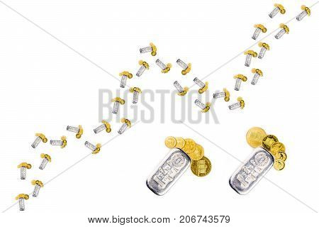 Growing Chart Made Of Silver Brick And Golden Coins