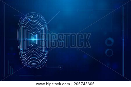 Abstract futuristic digital fingerprint scanner. concept of technology security