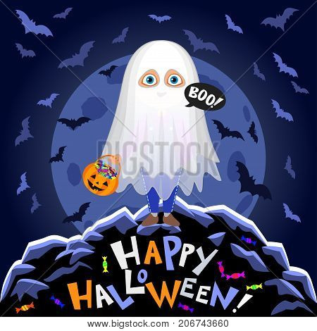 Happy Halloween. Boy in halloween costume on moon background. Ghost with pumpkin bag. Night autumn landscape. Vector