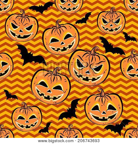 Seamless pattern with orange halloween pumpkins and bat on yellow background. Halloween design template for scrap-book paper textile print page fill. Vector