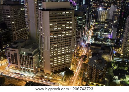 Aerial nightscape over Brisbane CBD, view from the corner of George and Margaret streets.
