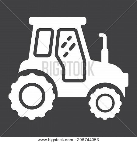 Tractor glyph icon, transport and vehicle, agriculture sign vector graphics, a solid pattern on a black background, eps 10.