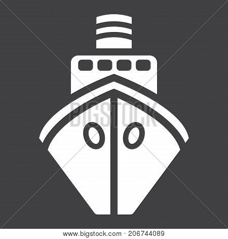 Ship glyph icon, transport and boat, travel sign vector graphics, a solid pattern on a black background, eps 10.