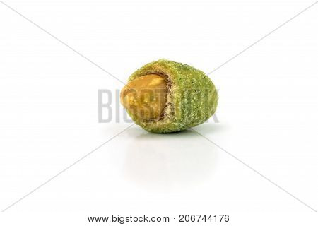 Wasabi Coated Peanuts asian snack on white background