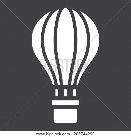 Hot air balloon glyph icon, transport and air vehicle, travel sign vector graphics, a solid pattern on a black background, eps 10.