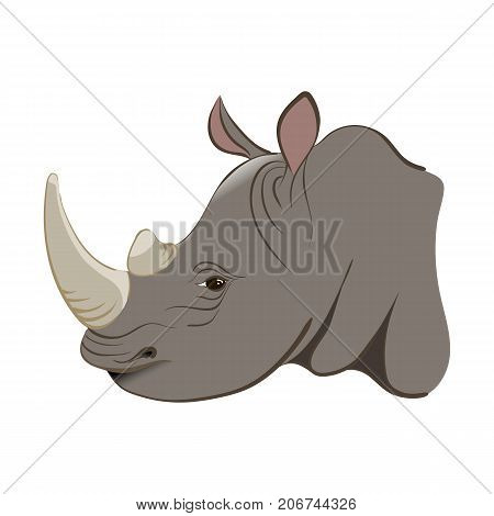 Rhinoceros In The Cartoon Style