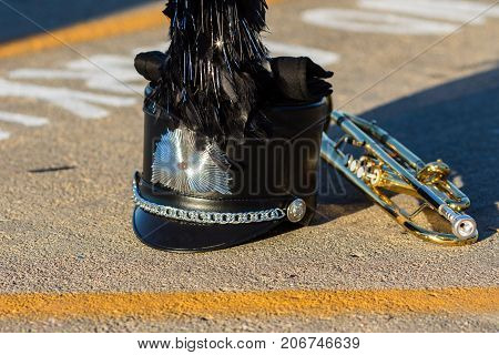 a Shako gauntlet and trumpet waiting to perform