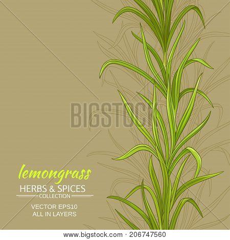 lemongrass leaves vector pattern on color background
