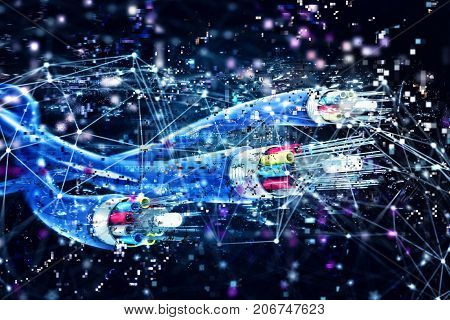 Image of optical fibers with digital effects. Concept of fast internet.3d render